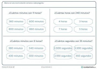Ficha de horas y minutos para niños de primaria