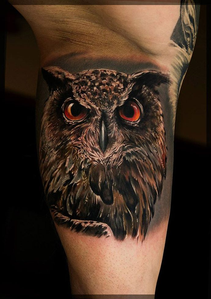 owl realism tattoo cool tattoos pinterest realism tattoo tattoo and 3d tattoos. Black Bedroom Furniture Sets. Home Design Ideas