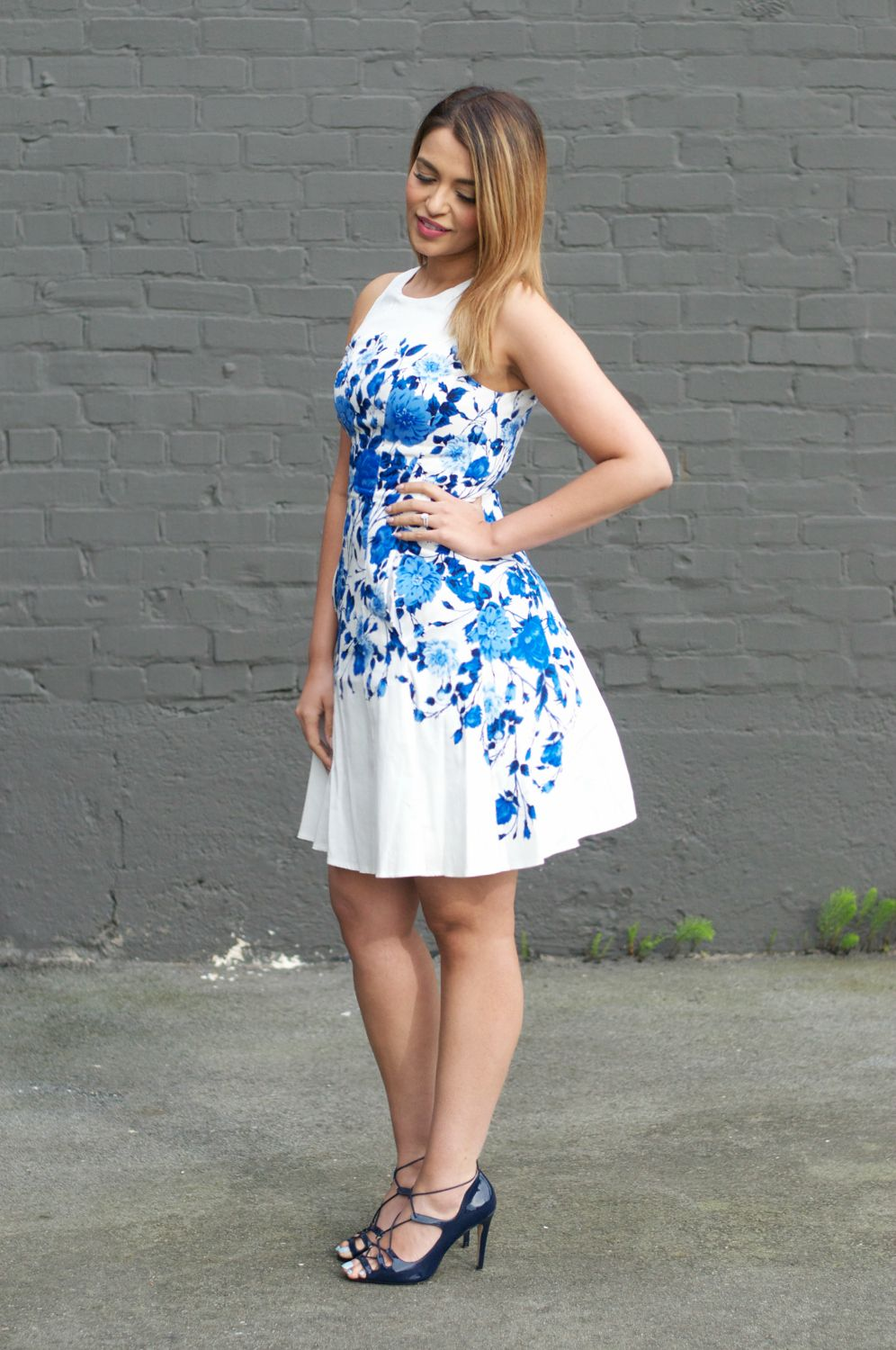 Maggy London Floral Dress, Zara Lace-Up Heels