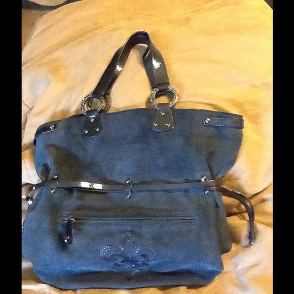 Gorgeous Navy Suede Bag  Never used Giannibini Navy Suede with glossy navy straps Gianni Bini Bags