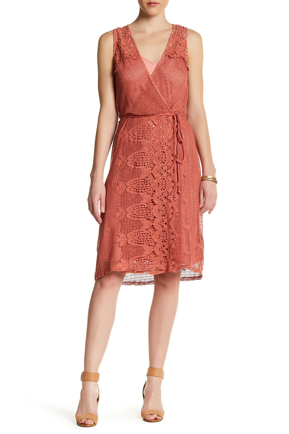 1ddf8e8e613 Ella Moss Lace Yoke Wrap Dress