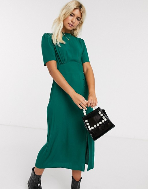 Asos Design Midi Tea Dress With Buttons And Split Detail In Forest Green Asos In 2020 Tea Dress Dresses Asos Designs