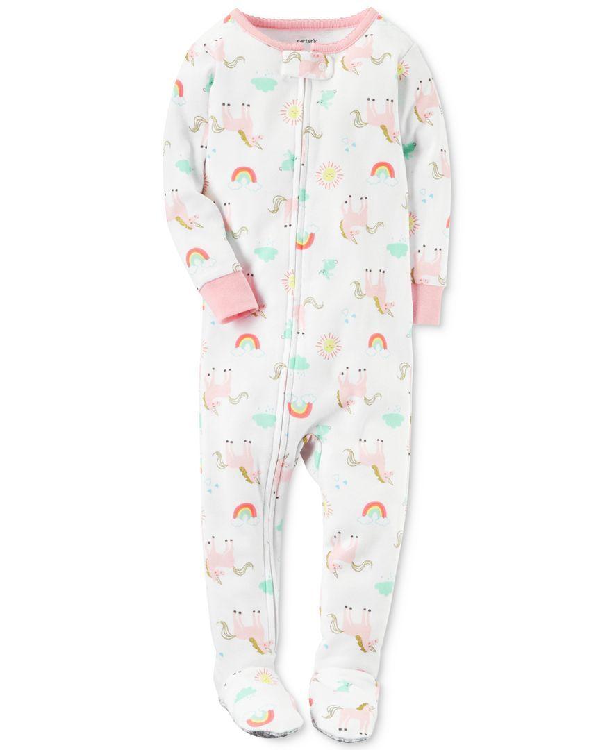 787298930 Carter s 1-Pc. Unicorn-Print Cotton Footed Pajamas