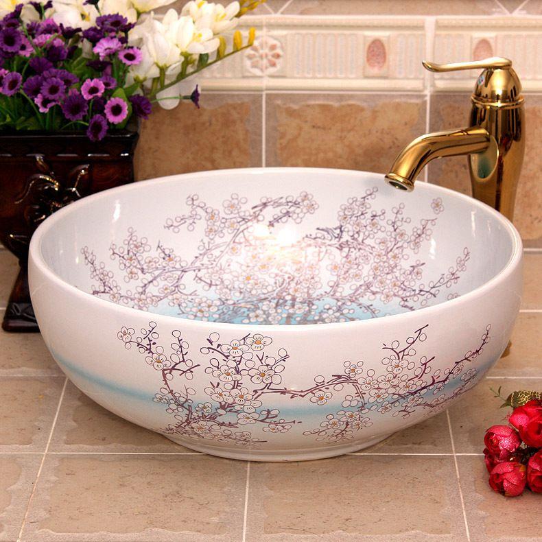 China Painting Plum Blossom Ceramic Painting Art Ceramic Wash Basin Lavabo Bathroom Sink Counter Bathroom Sink Ceramic Bathroom Sink Bathroom Sink Organization Ceramic pictures for the bathroom