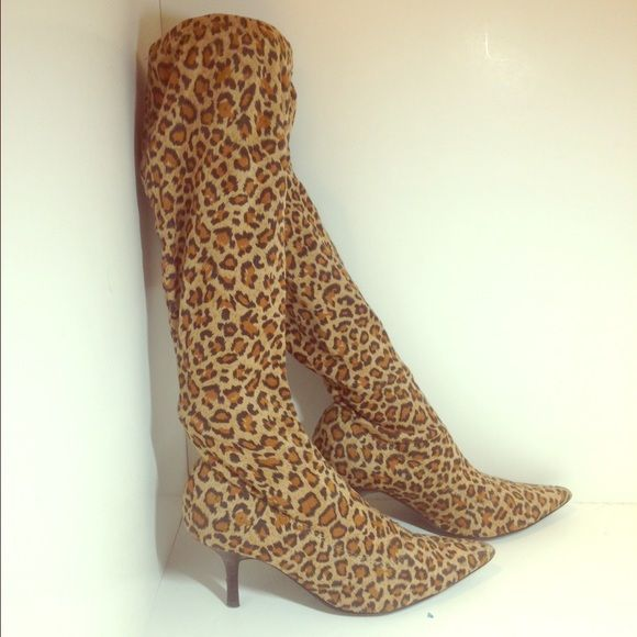 Colin Stuart leopard boots Skin tight pointy leather boots; small brown heels Colin Stuart Shoes