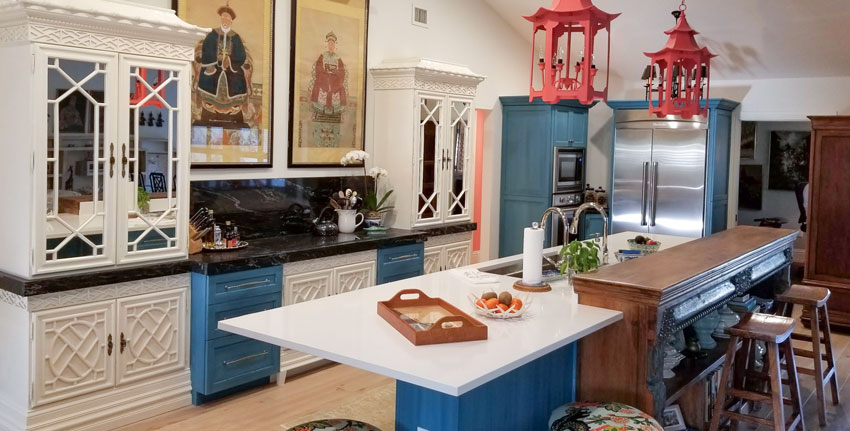 An Inspired Chinoiserie Kitchen And Bath Before And After Kitchen Remodel Small Kitchen Layout Elegant Kitchen Decor