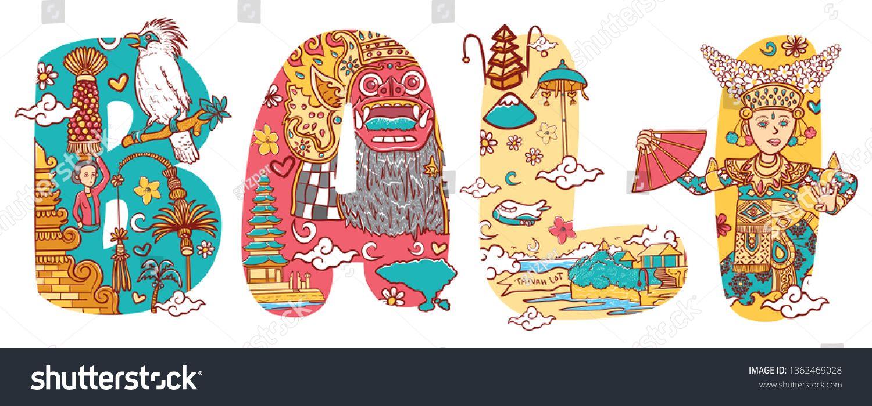 Culture Of Bali In Custom Font Lettering Illustration Stock