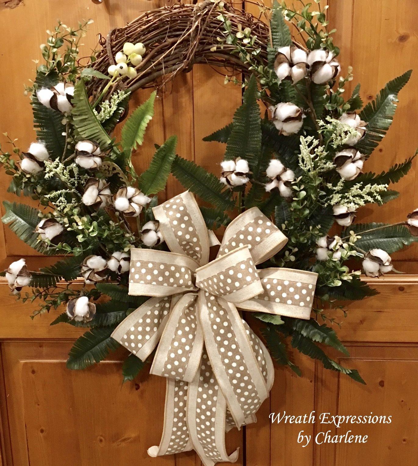 Cotton Boll Rustic Farmhouse Wreath Everyday All Year