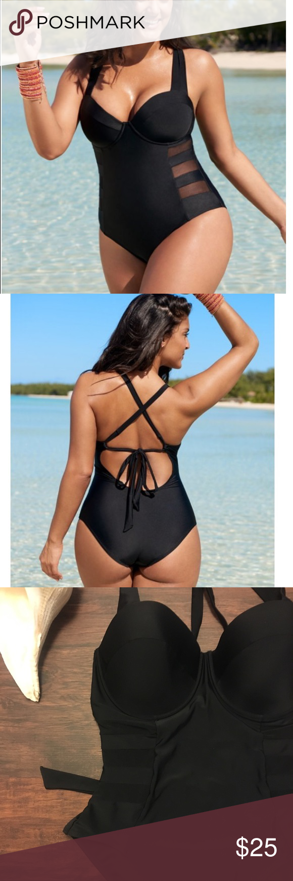 7d106c172a85e ADORE ME PLUS Black One Piece Mesh Swimsuit 2x 3x ADORE ME PLUS - Size 40DDD