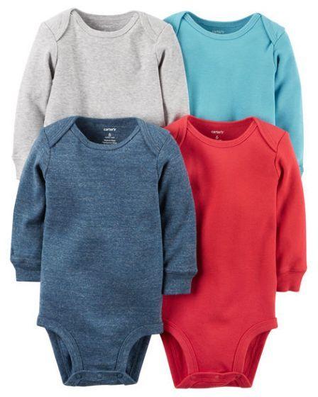 dc443d97c 4-Pack Unisex Baby Onesies/Bodysuits Long Sleeve 0-3-24 Months Plain Pink  Grey Blue White
