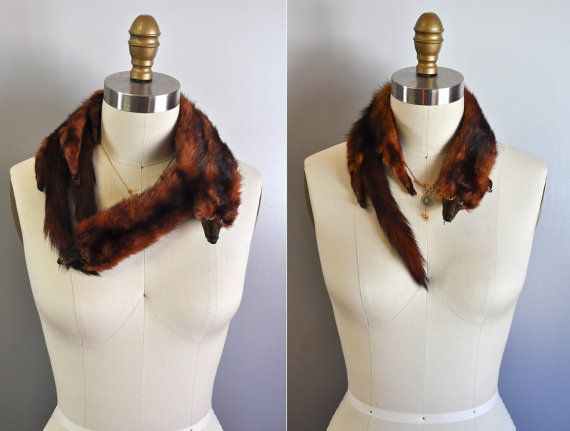 Vintage 30s 40s Mink Fur Stole Scarf Shawl // Set by LaDeaDeiSogni, $48.00
