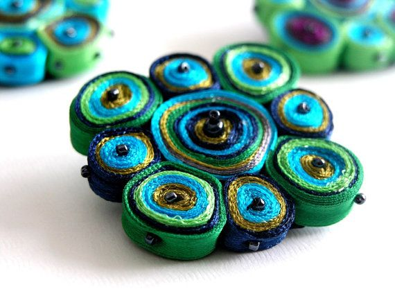 Textile Brooch Colorful Circles Design by AudraTextileStudio, $25.00