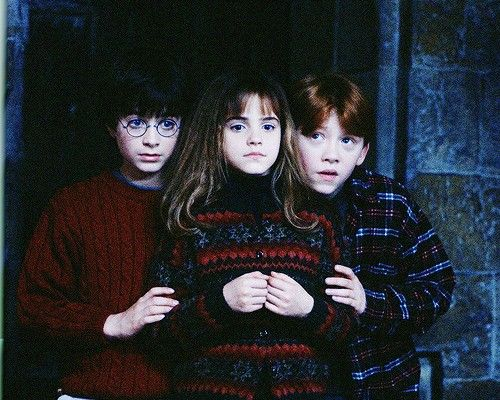 Harry, Hermione and Ron from Harry Potter.