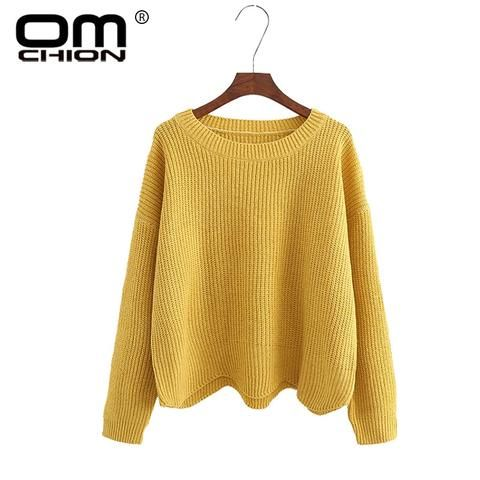 OMCHION Autumn 2018 O Neck Women Sweaters And Pullovers Casual Solid Waves  Irregular Jumper Knitted Female Loose Variegate WMY80 0ec033182