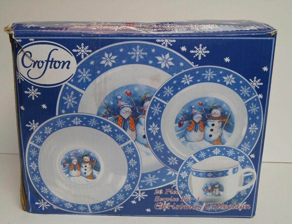 Crofton Snowman Dinnerware Set 20 Piece Dinner Salad Plate Mug Saucer NEW & Crofton Snowman Dinnerware Set 20 Piece Dinner Salad Plate Mug ...