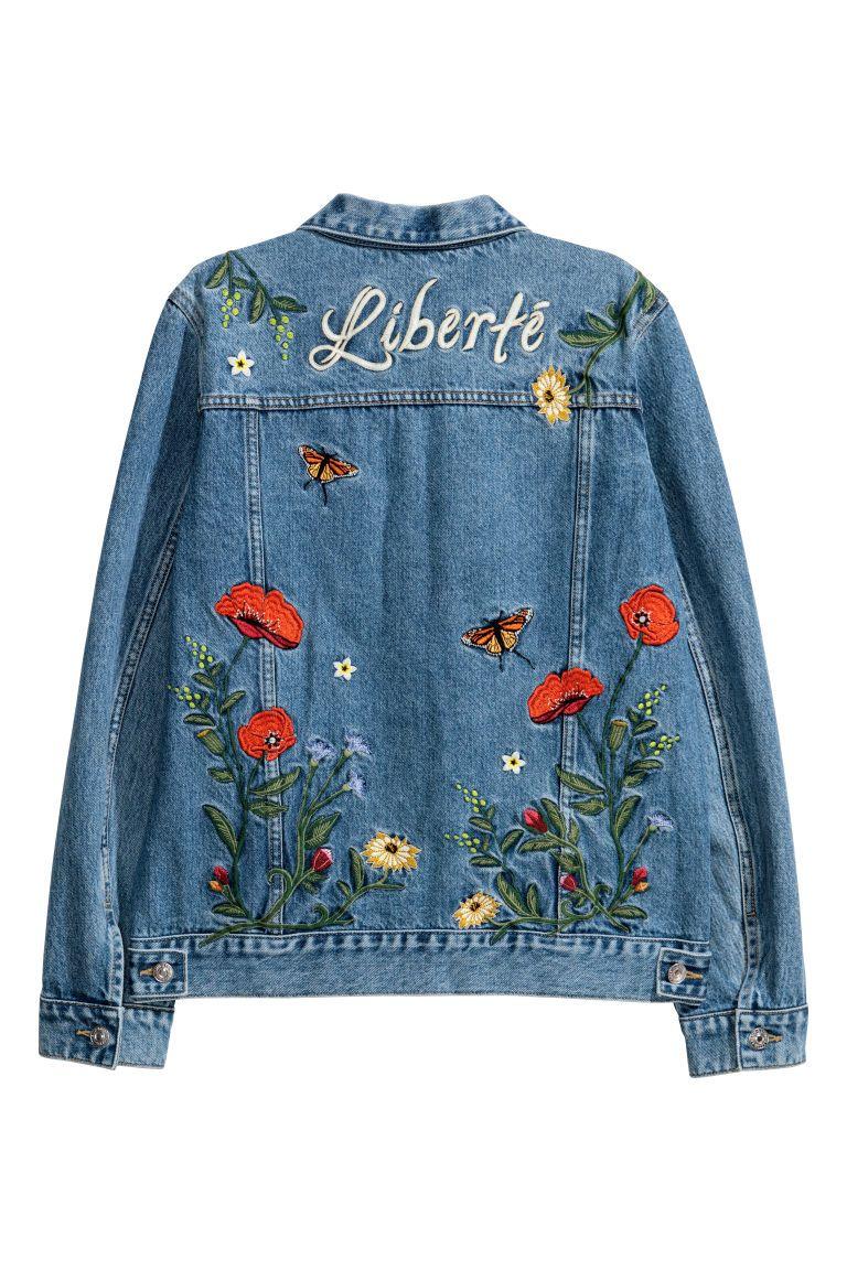 e42db56dd9 Embroidered Denim Jacket in 2019 | DIY | Embroidered denim jacket ...