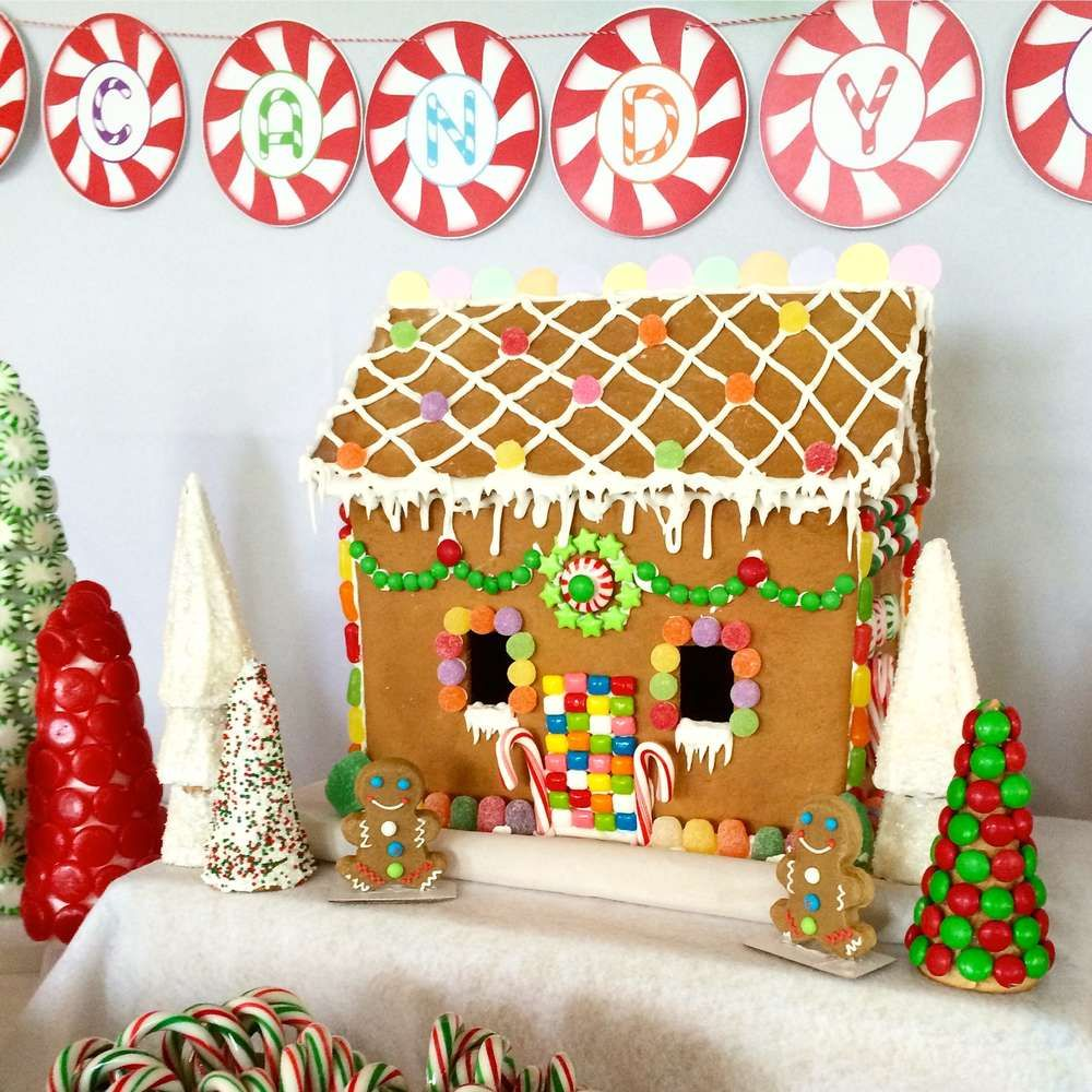 Candyland Christmas Holiday Party Ideas Photo 5 Of 15 Gingerbread House Parties Gingerbread Party Gingerbread House Decorations