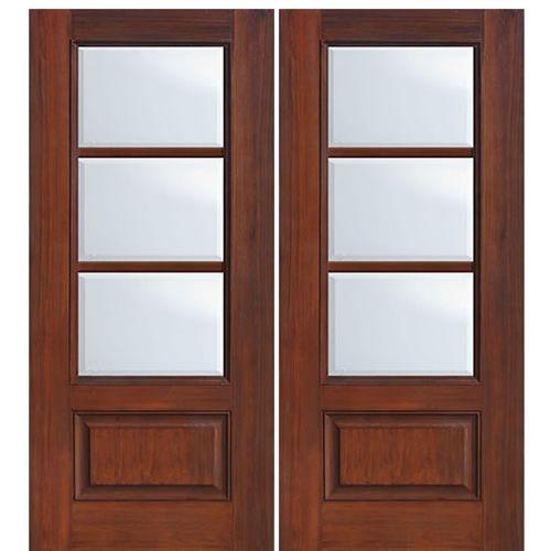 1 Panel 3 Lite SDL2 Doors Walnut wood and Wood grain