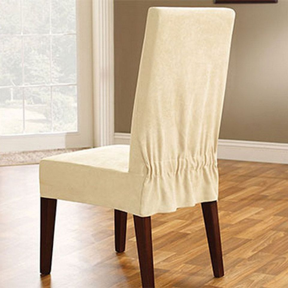 Soft Suede Short Dining Room Chair Slipcover In Cream  Decorating Delectable Dining Room Covers Decorating Design