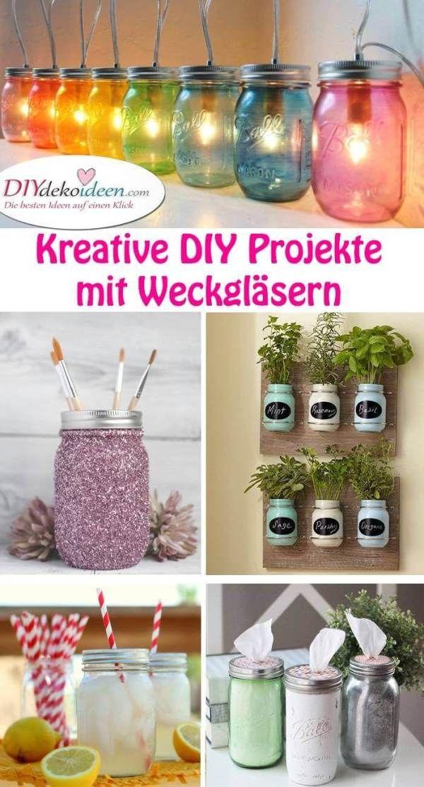 DIY Bastelideen mit Weckgläsern zum Selbermachen