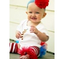 Fire Cracker 4th of July Ruffled Onesie
