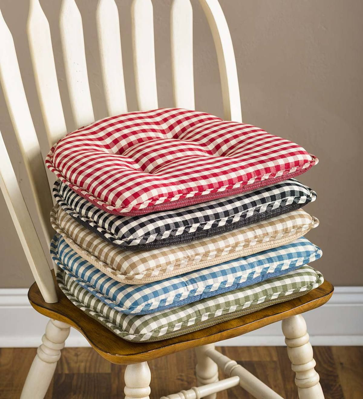 Non-Slip Gingham Chair Pads add colorful cushioning to your ...