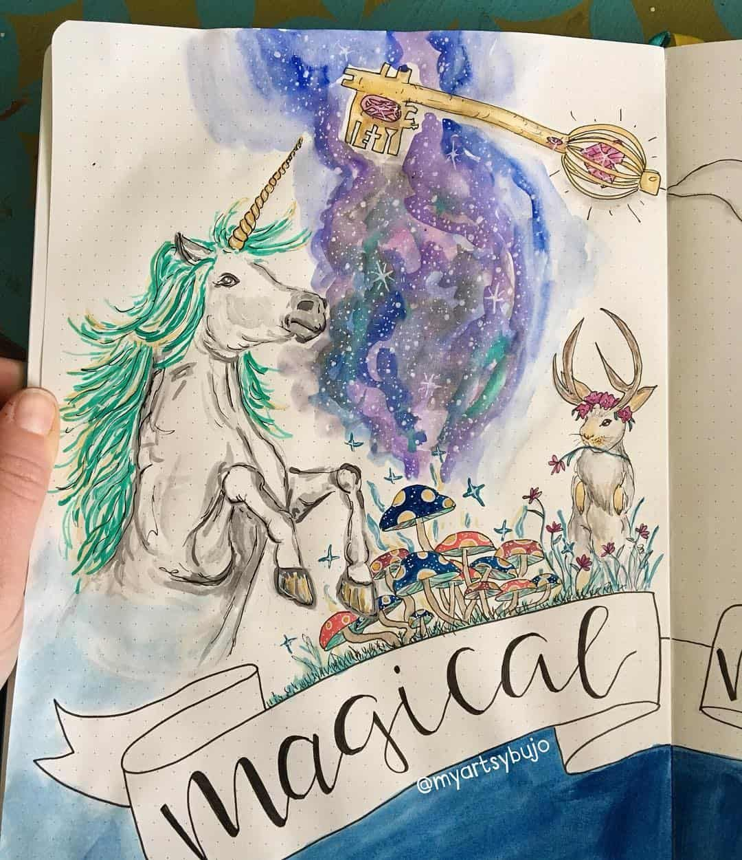 10 Magical Unicorn Bullet Journal Layouts to Help You Sparkle - Bullet journal layout, Journal layout, Unicorn illustration, Bullet journal hacks, Bullet journal, Drawings - If you love unicorns and magic then you can't fail to be inspired by this collection of unicorn bullet journal layouts