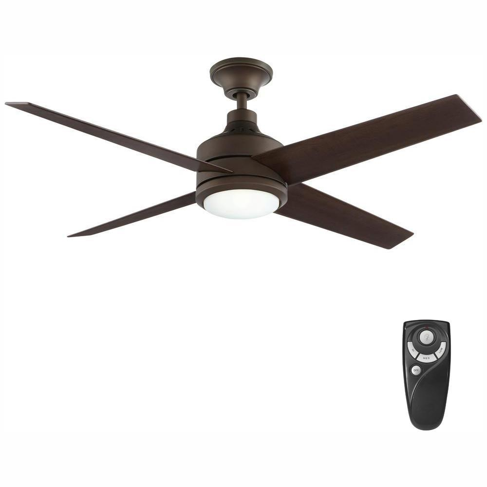 Home Decorators Collection Mercer 52 In Integrated Led Indoor Oil Rubbed Bronze Ceiling Fan With Light Kit And Remote Control 54729 The Home Depot Ceiling Fan With Light Bronze Ceiling Fan Fan Light