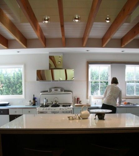 Kitchen Wood Soffit Design Modern Interior: Exposed Ceiling Joists With Soffit