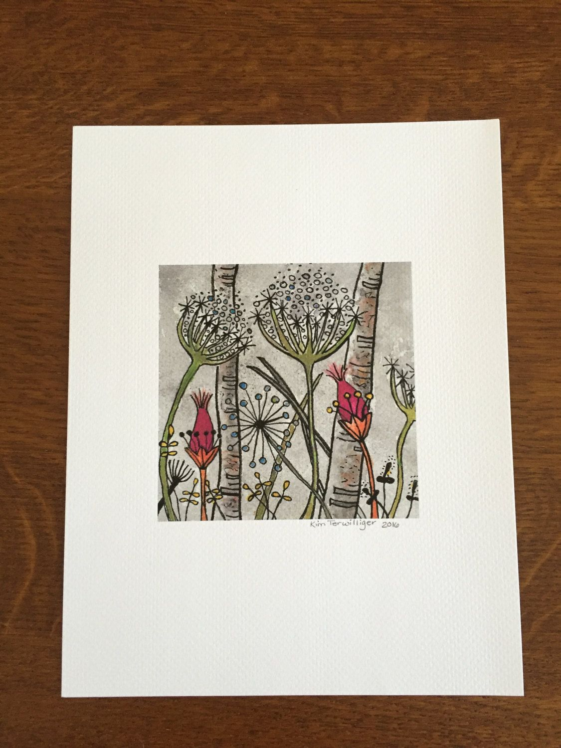 Whimsical Watercolor and Pen Print Reproduced from Original Art by JustKimDesigns on Etsy