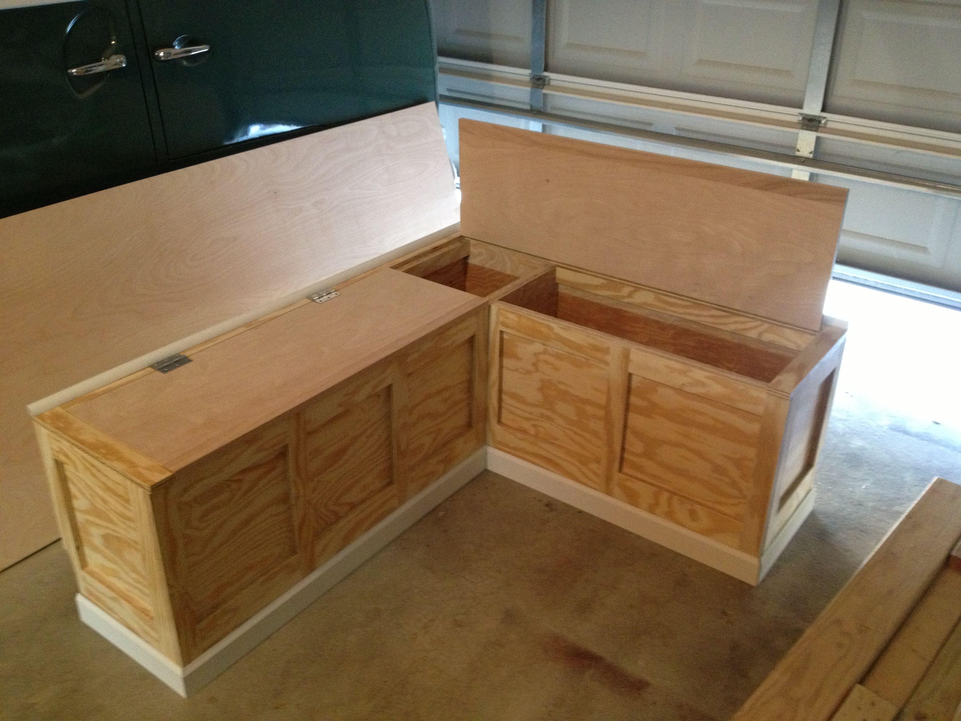 hinged storage bench