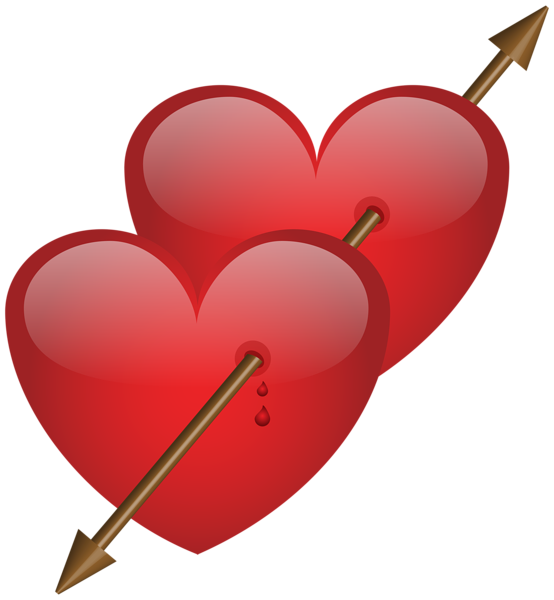 Two Hearts With Arrow Png Clip Art Image Heart With Arrow Clip Art Art Images