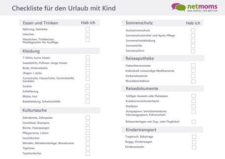 checkliste urlaub planen mit kindern netmoms. Black Bedroom Furniture Sets. Home Design Ideas