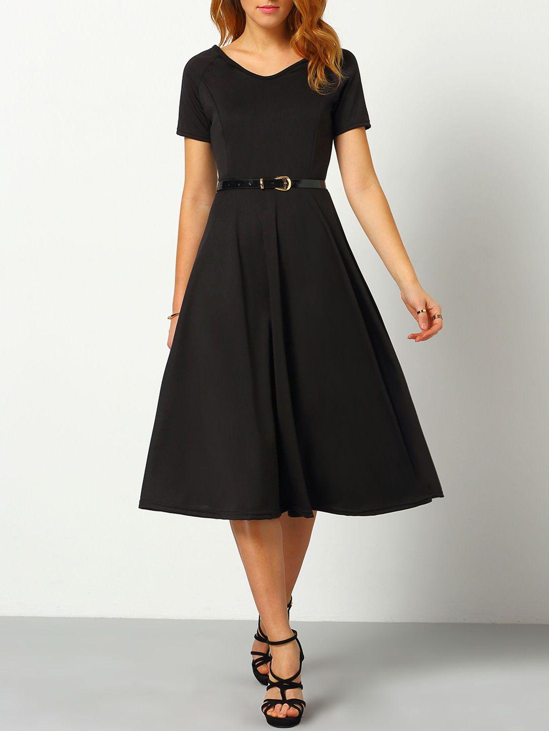 V Neck A Line Dress With Belt Dresses A Line Dress Long Black Dress [ 1465 x 1100 Pixel ]
