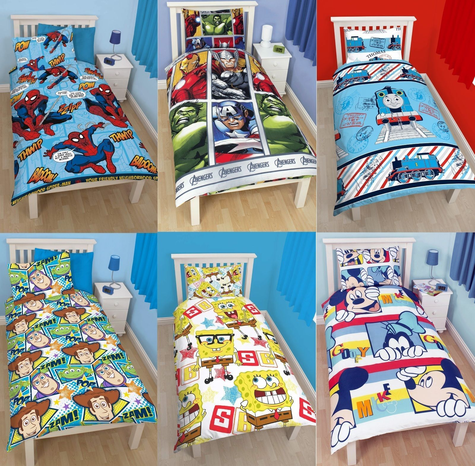 Boys Character Single Quilt Duvet Cover & Pillowcase Bedding Sets Disney Kids