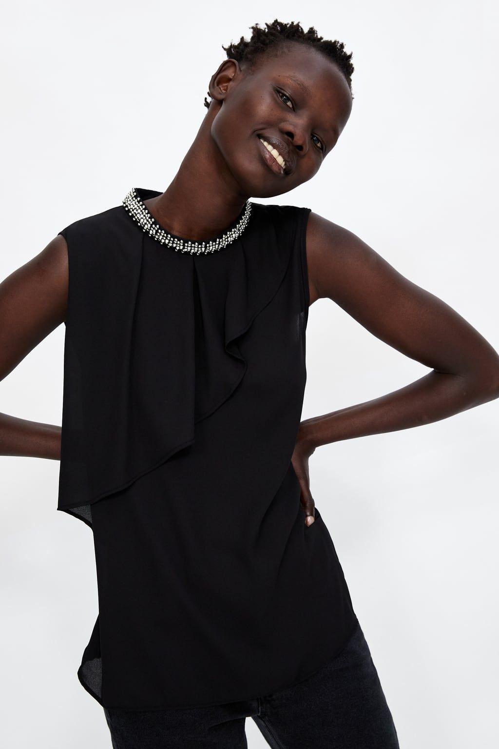 TOP CUELLO JOYA   Haut, Mode noir et blanc