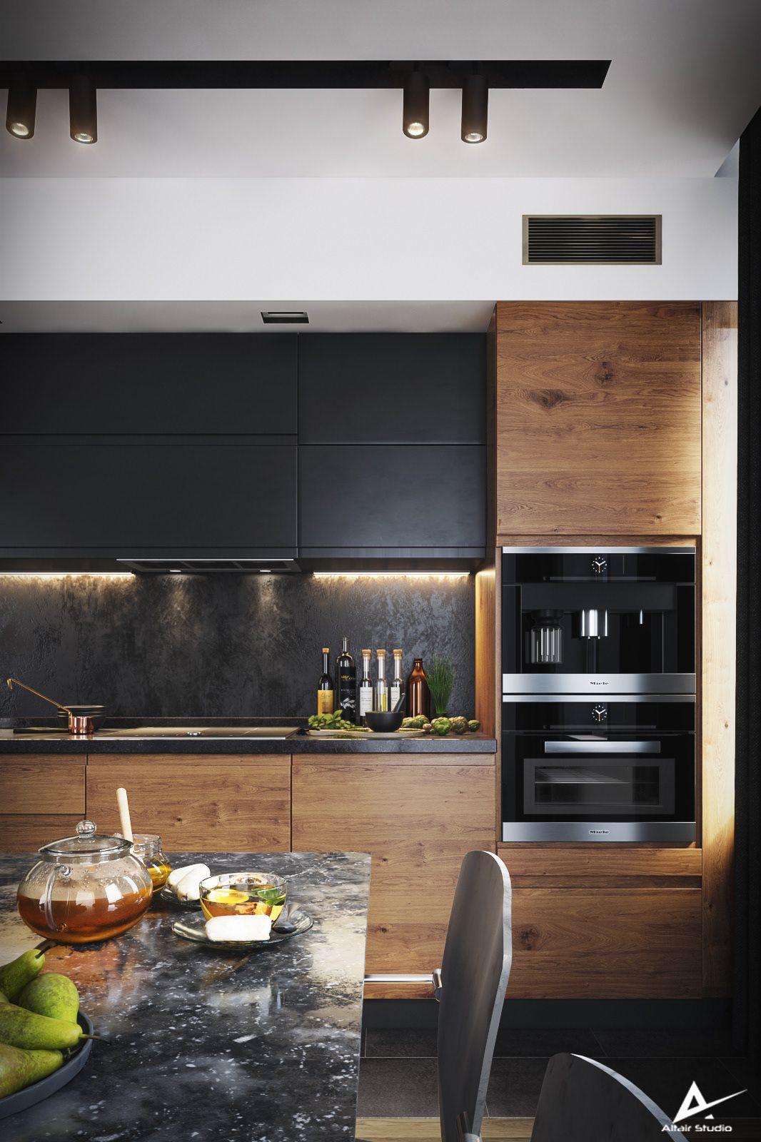Modern Dark Kitchen on Behance   Modern kitchen cabinet design ...