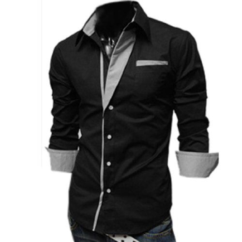 Partiss Mens Slim Fits Long Sleeve Shirts Large Black Fancy Dress ...