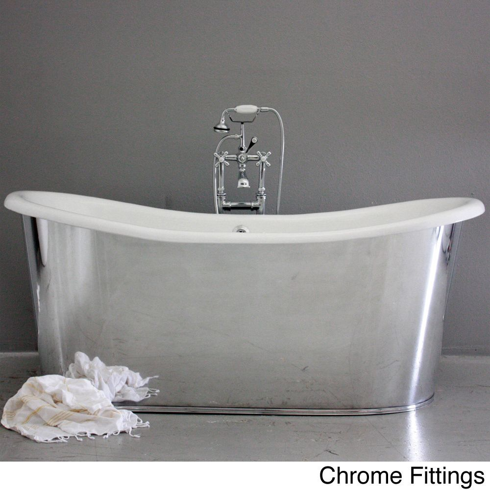 Westminster73 Cast Iron 73-inch French Bateau Bathtub | Overstock ...