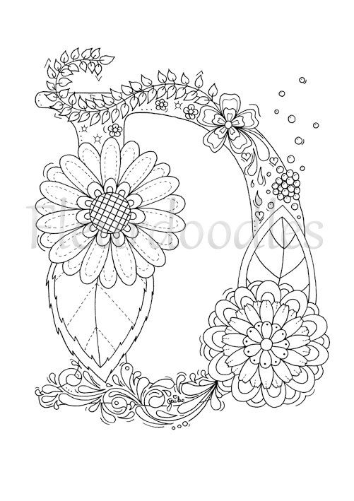 Adult Coloring Page Floral Letters Alphabet D Hand Lettering Printable Anti Stress Coloring Book Zen Colouring Instant Download Buchstabe D Malvorlagen Und Ausdrucken