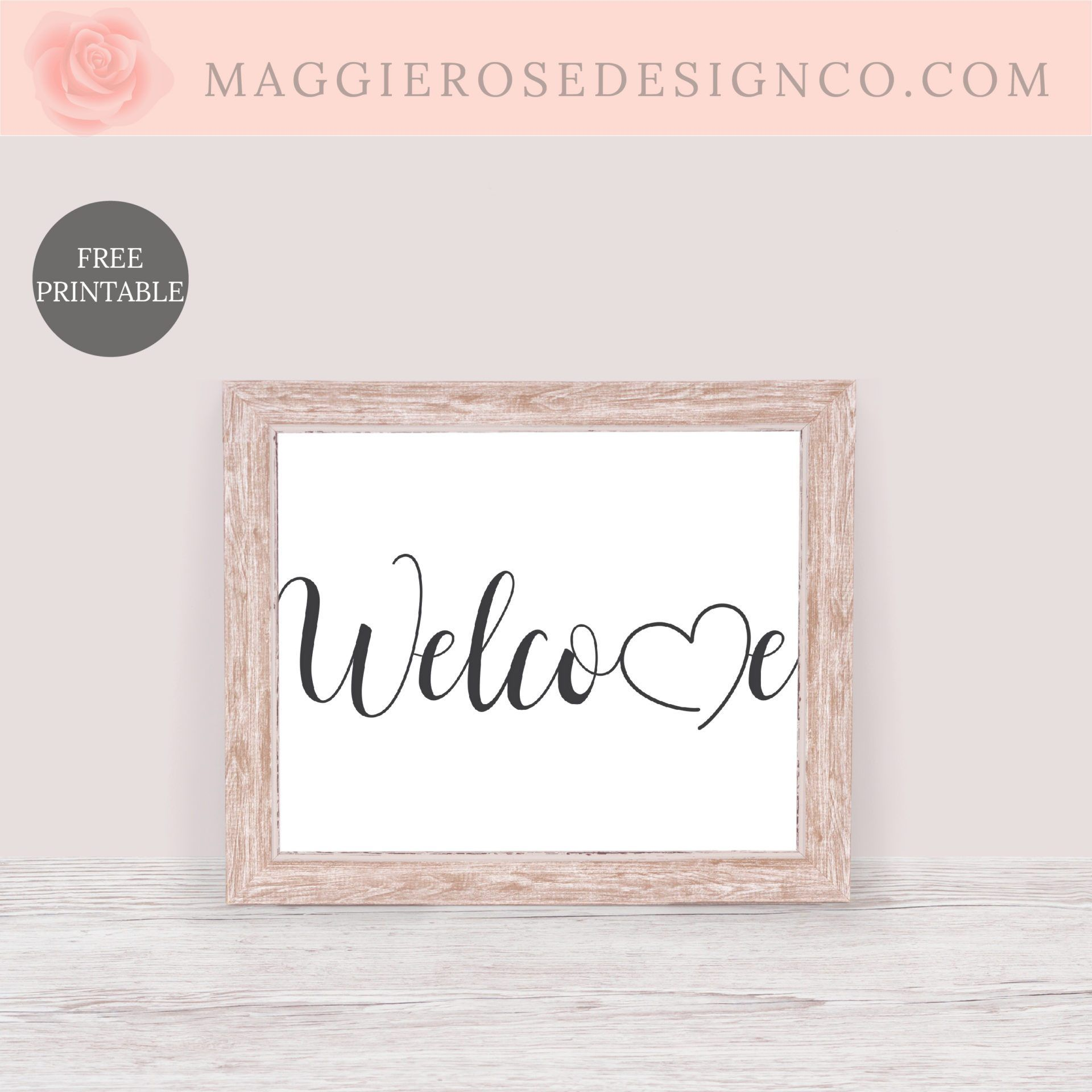 welcome printable  rose design printables diy projects
