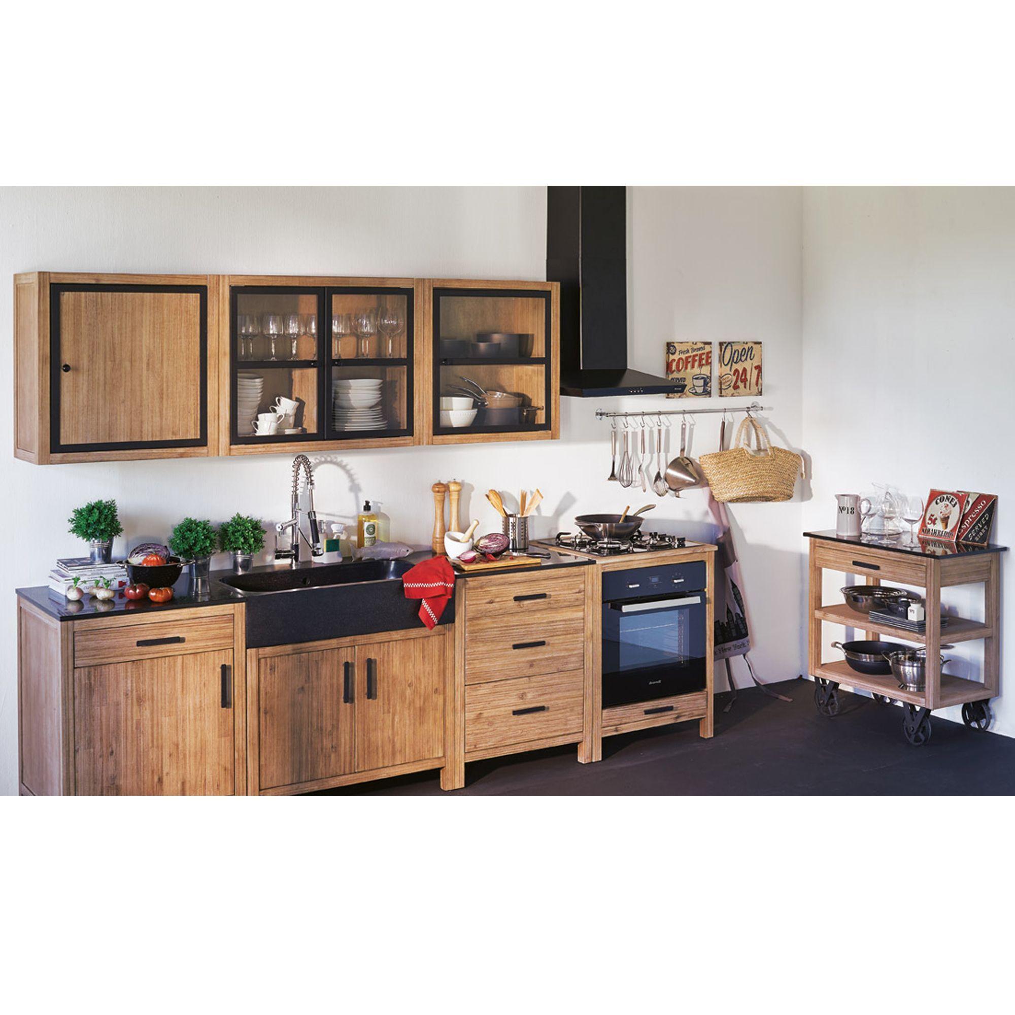 Ensemble de meubles de cuisine en acacia Naturel - Lys - Les