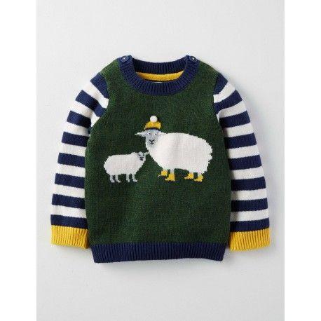Pull a Logo Vert Wellington Chine Mouton Bebe Boden   Tricot enfant ... 254681b3b00
