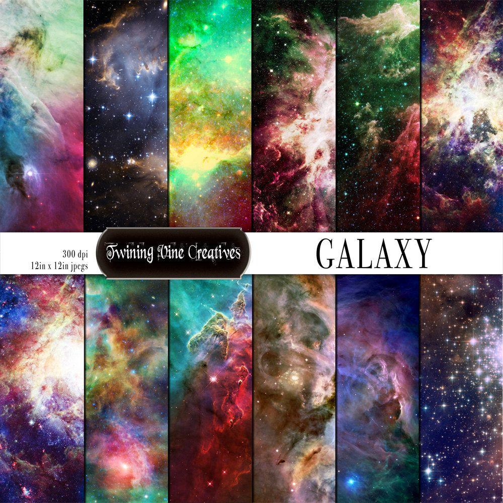 Galaxy Digital Paper Commercial Use Universe Scrapbook Paper