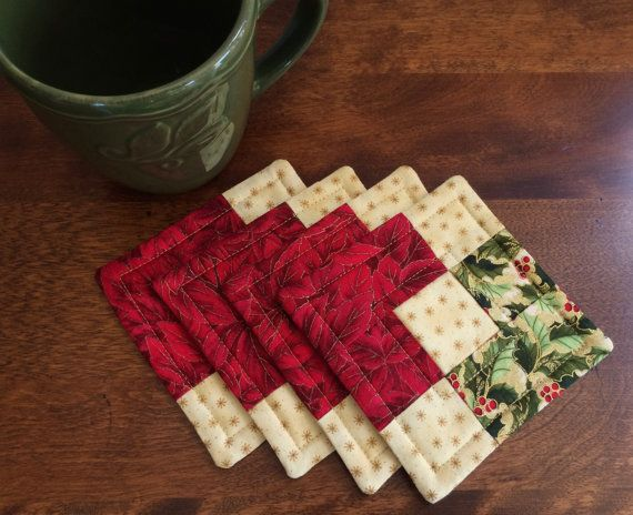 Christmas Quilted Holly Poinsettia Coasters Red Green Gold Reversible Set Of 4 Christmas Quilt Quilted Coasters Christmas Quilts
