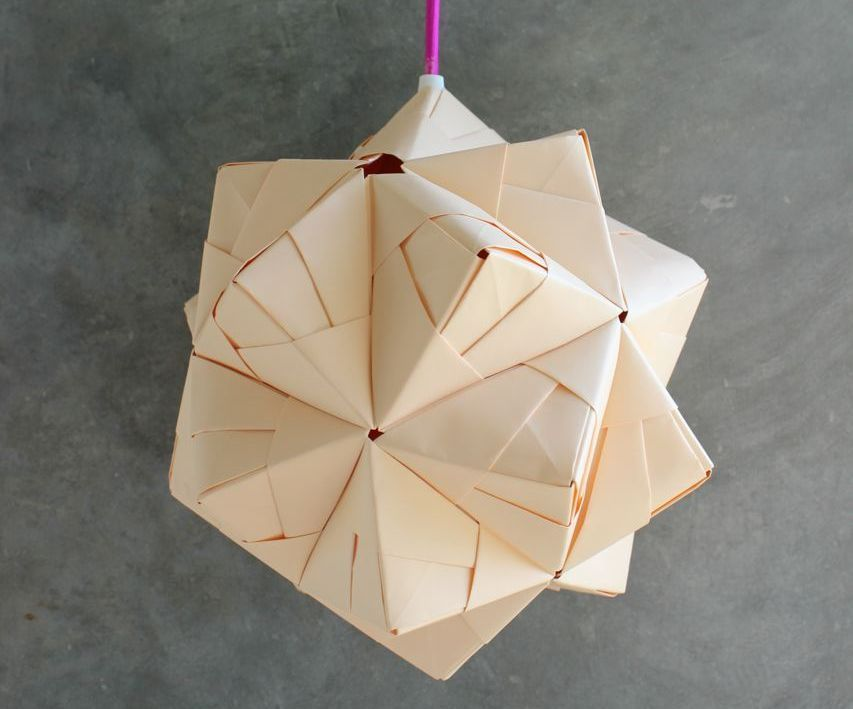 I love this kind of folding. I tinker long time with this lamp, and finally this is the result.I have used 80 gr. paper, is stable but not too heavy for hanging o...