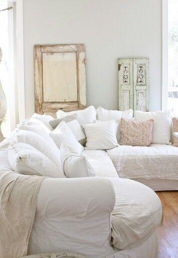 inspiring white shabby chic living room furniture | Shabby chic white living roon-Houzz | Cottage living rooms ...