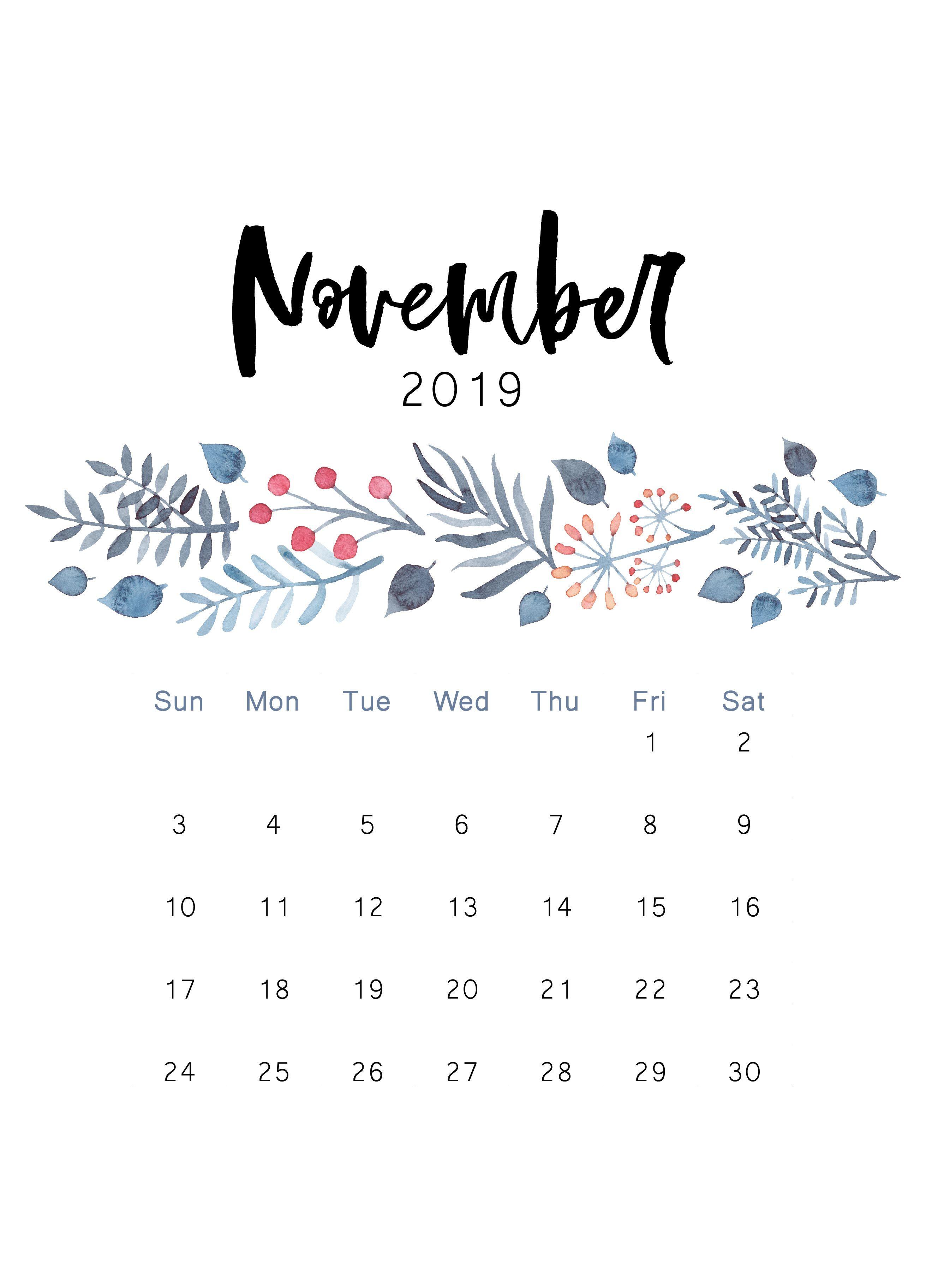 November 2019 Printable Calendar The Cactus Creative Calendar