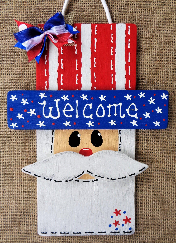 Door hanger blanks DIY unfinished wooden cutout Uncle Sam 4th July Door Hanger Blank etched blanks wood sign