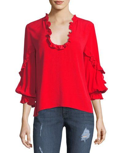 long sleeved ruffle blouse - Red Alexis Newest Sale Online Fashionable Online Buy Cheap Best rYrYY